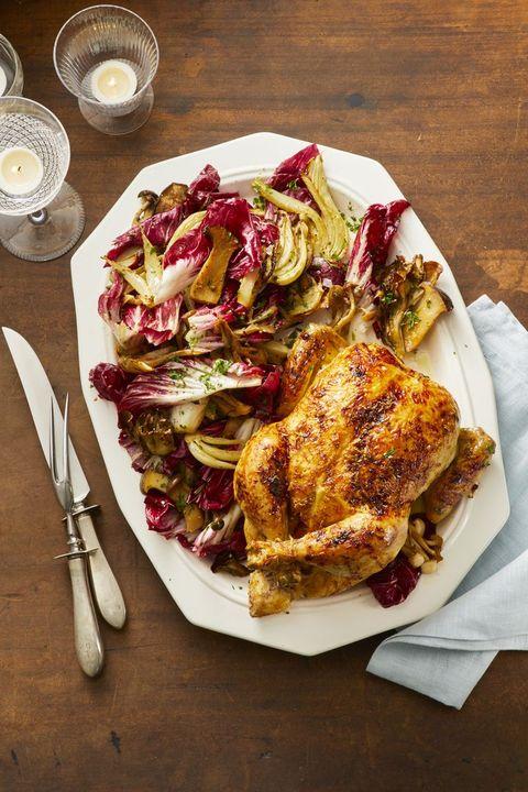 Orange-Ginger Roast Chicken with Fennel and Radicchio Salad - Valentine's Day Dinner Ideas