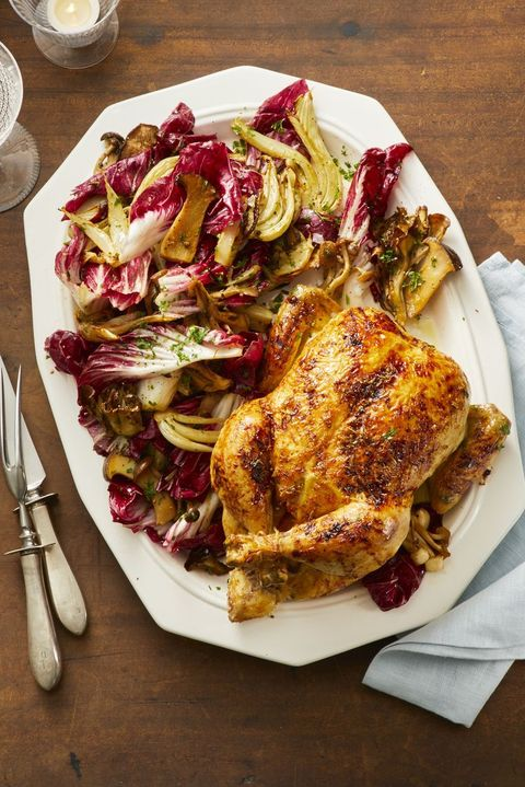 orange ginger roast chicken with fennel and radicchio salad