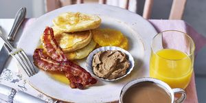 Orange Pancakes With Bacon And Cinnamon Butter