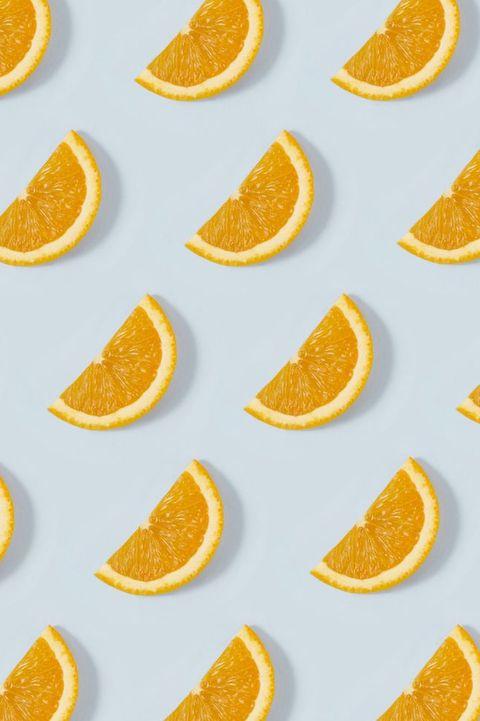 Orange Slice Pattern on Blue Background