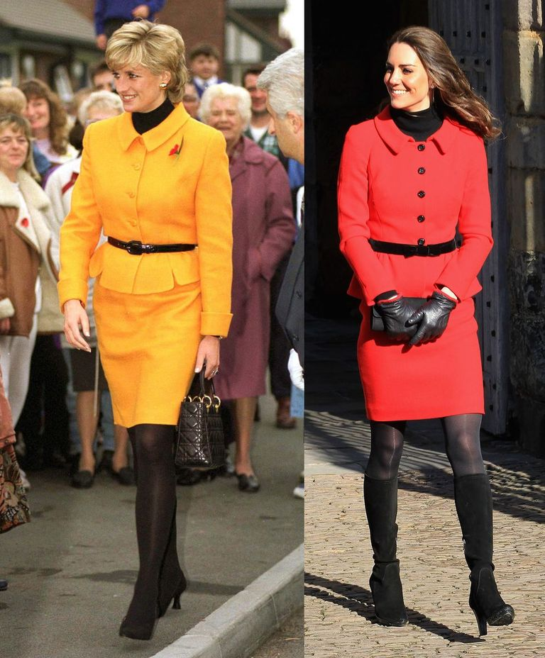The Princess of Wales in an orange suit with a black belt while visiting Liverpool in 1995, and the Duchess of Cambridge wearing a red suit with a black belt in 2001.