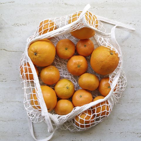 Oranges and Tangerines in Reusable  Shopping Bag