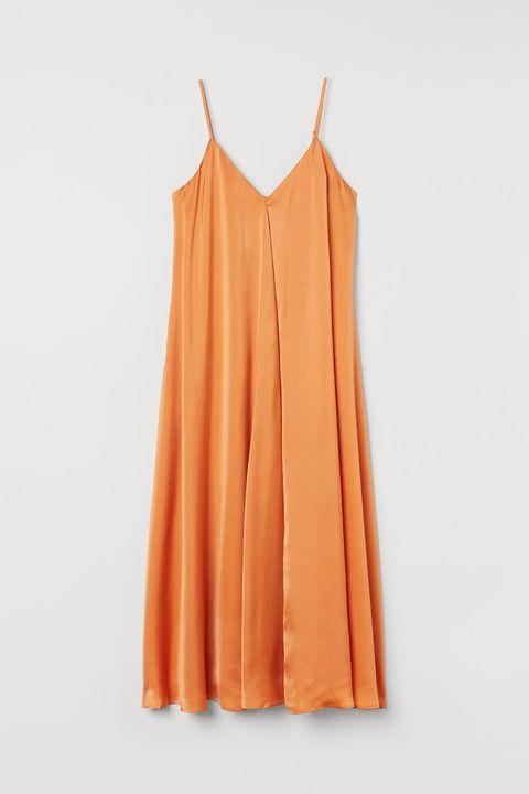 satijnen alijn oranje jurk hm