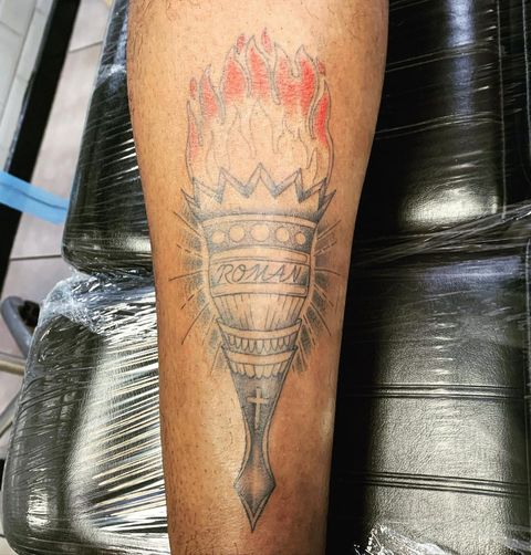 ore oduba's arm tattoo