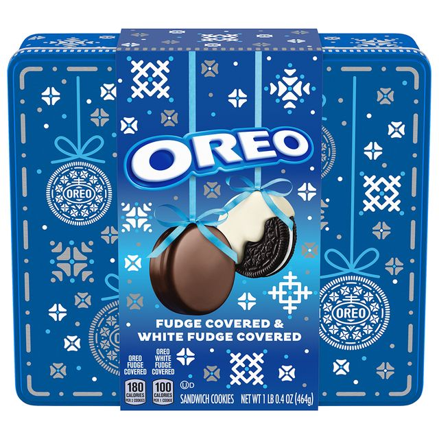 oreo holiday tin with fudge covered and white fudge covered cookies