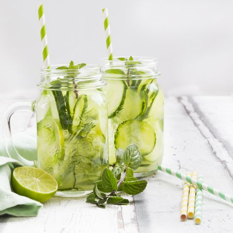 Organic cucumber water with mint and lime
