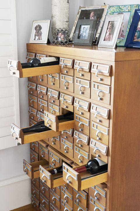 wine organization drawer