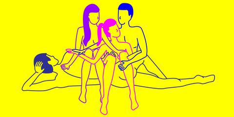 Yellow, People, Line art, Social group, Text, Line, Human, Interaction, Conversation, Fun,
