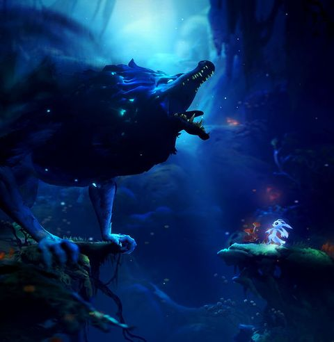 Blue, Water, Darkness, Electric blue, Organism, Space, Screenshot, Fictional character, Illustration, Cg artwork,