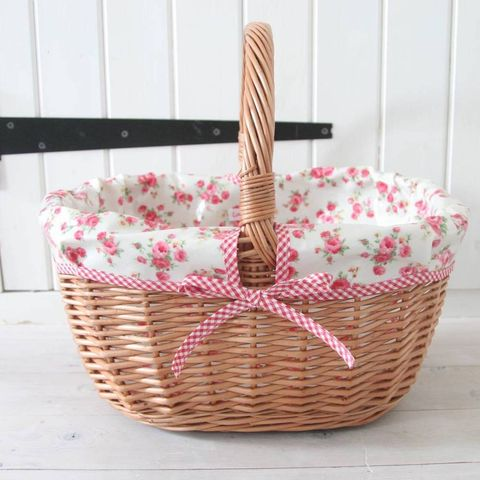 Oilcloth Lined Wicker Picnic Basket
