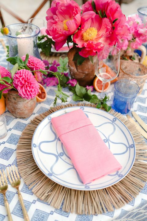 a pop colored table setting