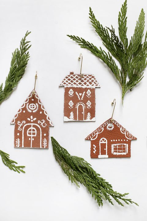 leather gingerbread house ornaments