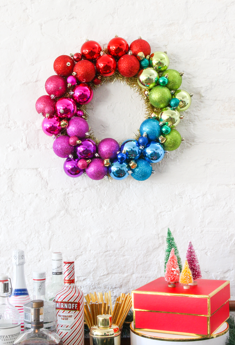 image courtesy of the crafted life ornament wreath - Cheap Diy Christmas Decorations