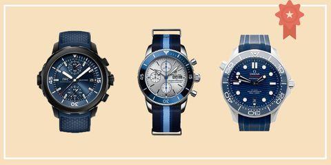 Watch, Analog watch, Watch accessory, Blue, Fashion accessory, Strap, Brand, Material property, Font, Jewellery,
