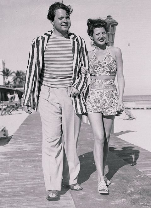 Orson Welles with Rita Hayworth Strolling Along Boardwalk