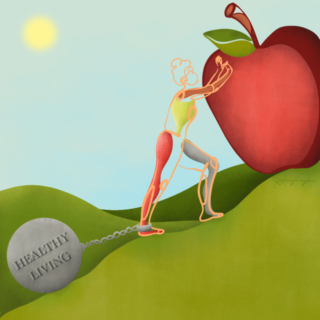 orthorexia illustration of woman pushing apple up hill