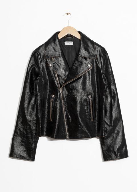 Clothing, Outerwear, Jacket, Leather, Sleeve, Leather jacket, Textile, Top, Bolero jacket,