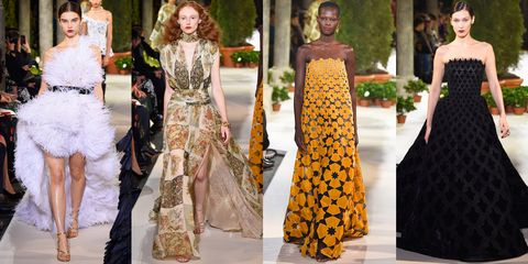 Fashion, Fashion model, Clothing, Haute couture, Dress, Yellow, Shoulder, Gown, Runway, Event,