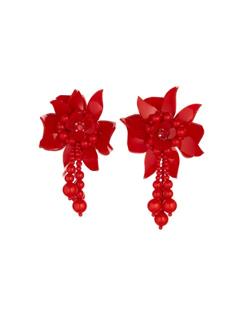 Red, Petal, Plant, Carmine, Fashion accessory, Earrings,