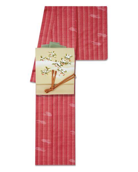 草木染の赤い紬 × 季節柄のなごや帯
