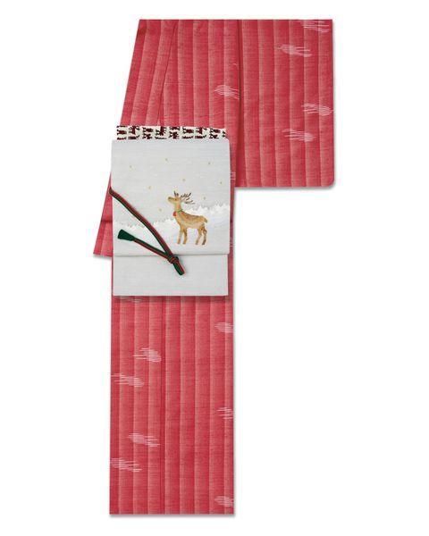 草木染の赤い紬 × トナカイ柄の帯