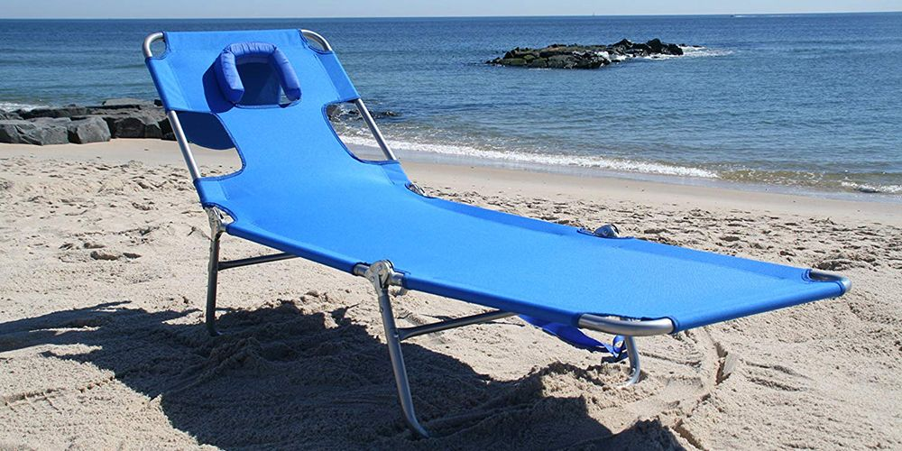 This Beach Chair Has A Face Hole For Easy Reading And Comfy Napping