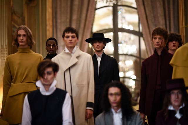 models present creationz by oteyza during the men's fall winter 2020 2021 fashion show in paris on january 15, 2020 photo by anne christine poujoulat  afp photo by anne christine poujoulatafp via getty images