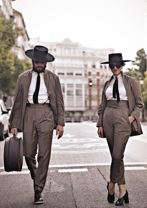 Photograph, Street fashion, Clothing, Fashion, Fedora, Suit, Hat, Snapshot, Human, Footwear,