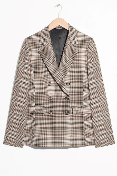 Clothing, Outerwear, Plaid, Pattern, Jacket, Blazer, Sleeve, Tartan, Beige, Brown,