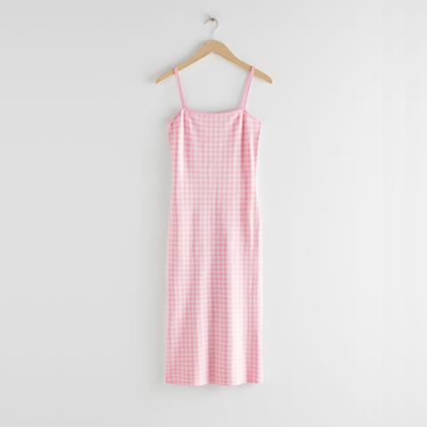 midi jurk met blokprint