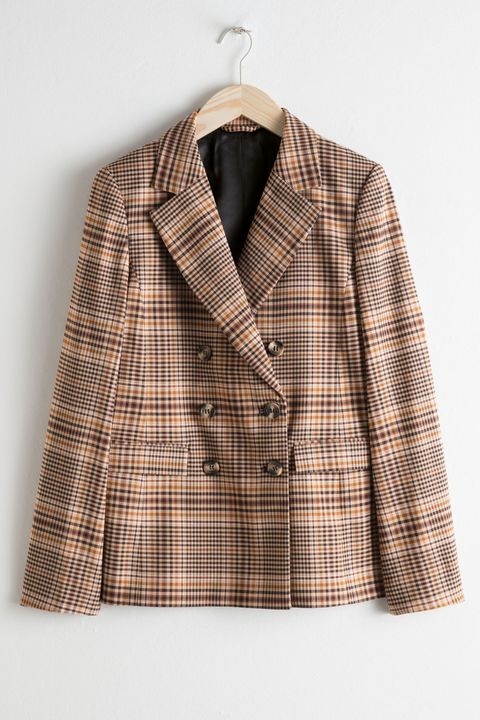 Clothing, Outerwear, Plaid, Pattern, Jacket, Blazer, Sleeve, Beige, Collar, Design,