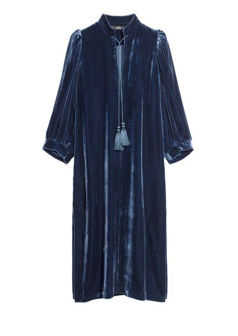 Clothing, Blue, Robe, Sleeve, Velvet, Outerwear, Denim, Dress, Textile, Nightwear,