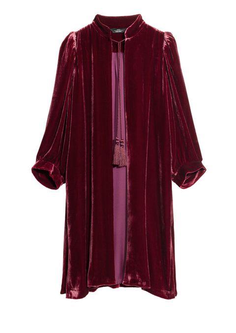 Clothing, Sleeve, Purple, Magenta, Violet, Maroon, Outerwear, Velvet, Blouse, Robe,
