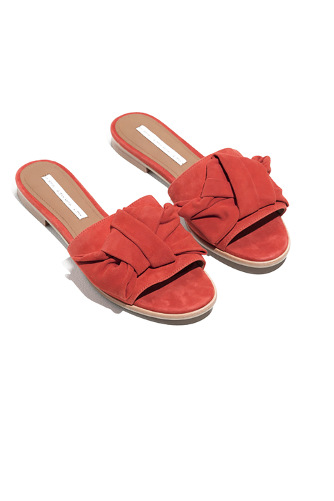 Footwear, Red, Orange, Shoe, Sandal, Slingback, Slipper, Wedge, Leather,