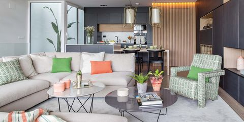 Living room, Room, Furniture, Interior design, Property, Green, Home, Building, House, Real estate,