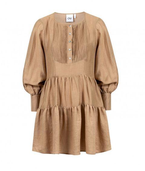 ou beige jurk met ruffles