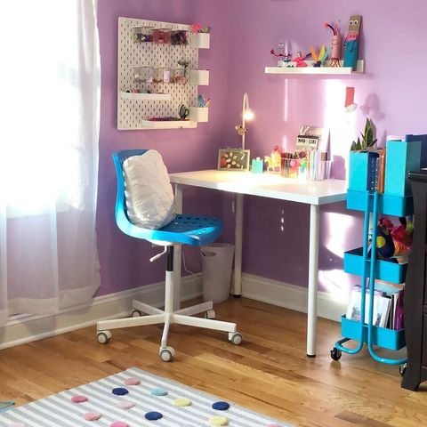 kids desk with pegboard and rolling cart