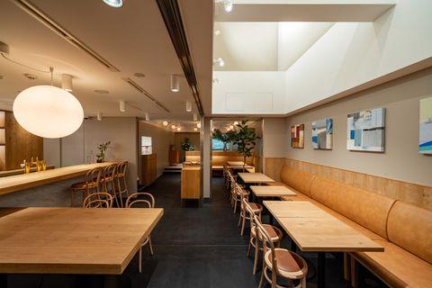Interior design, Building, Ceiling, Room, Lighting, Restaurant, Table, Architecture, Furniture, Cafeteria,