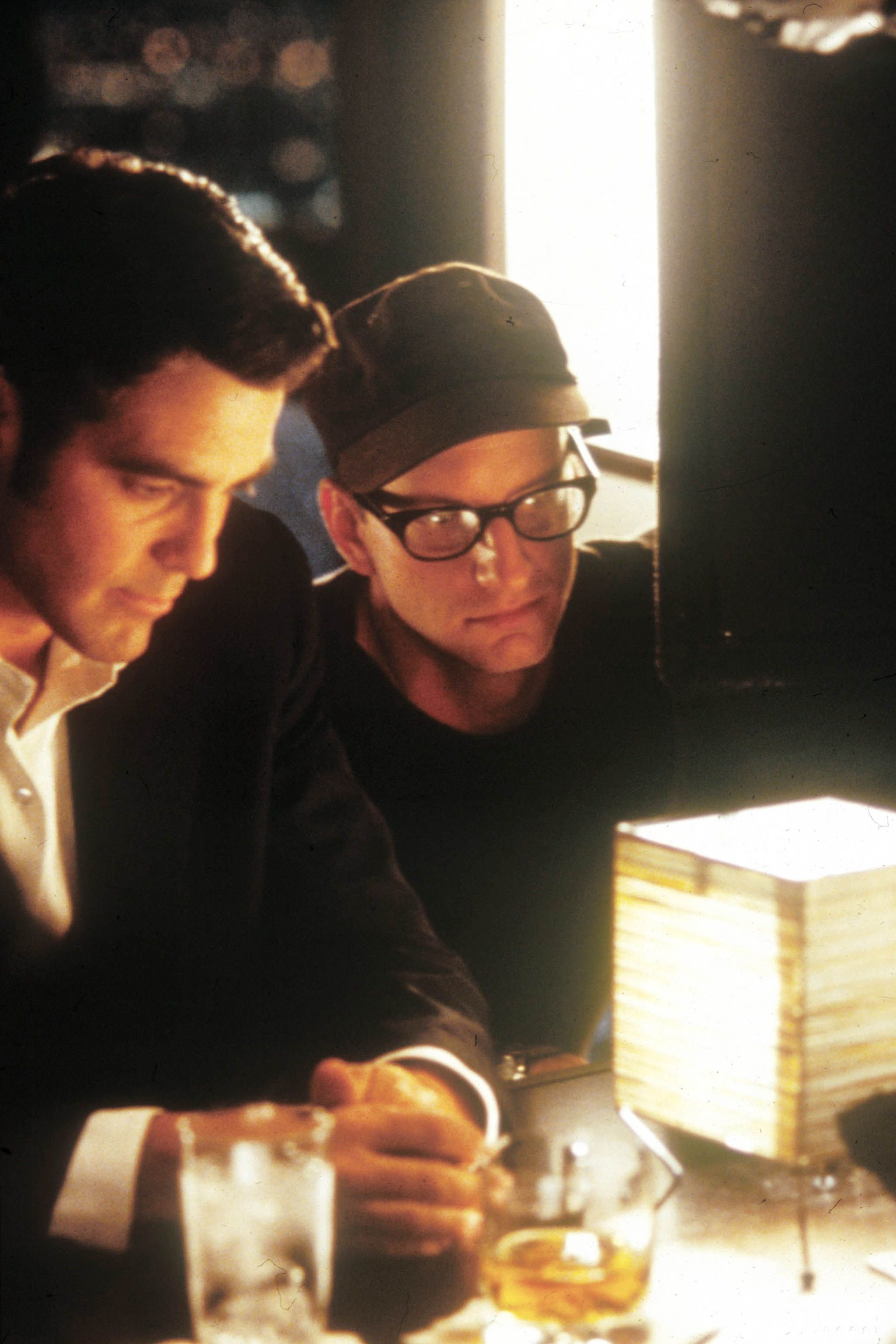 Steven Soderbergh directing George Clooney in a scene from Out of Sight in 1998.