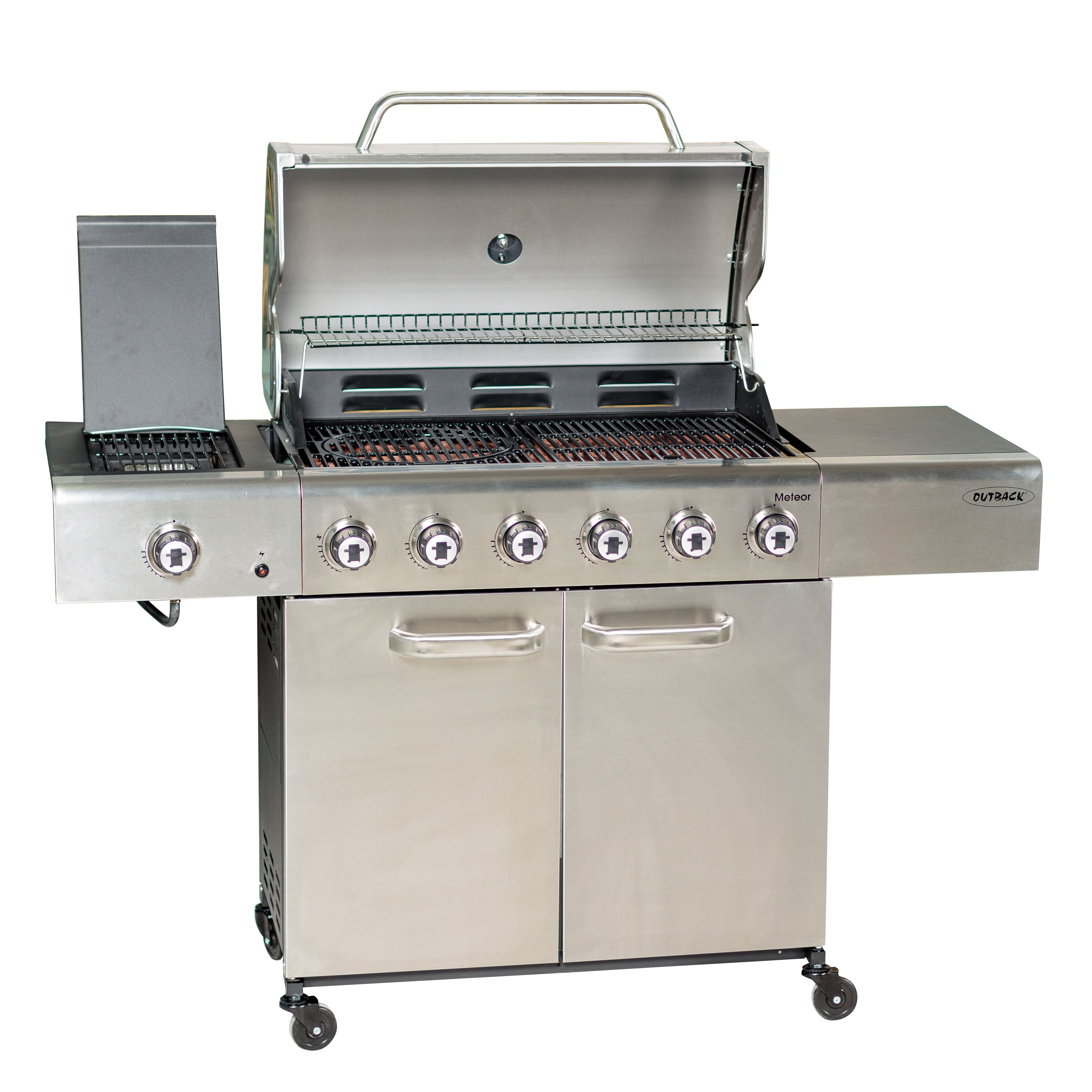 Outback Meteor 6-Burner Gas BBQ with Multi Cook Plate System - Stainless Steel - Robert Dyas