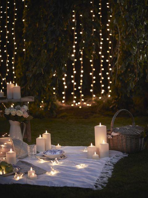 idées de cinéma en plein air, bougies led