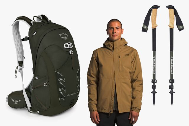a backpack, man wearing a jacket, and trekking poles