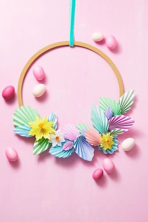 outdoor easter decor paper wreath