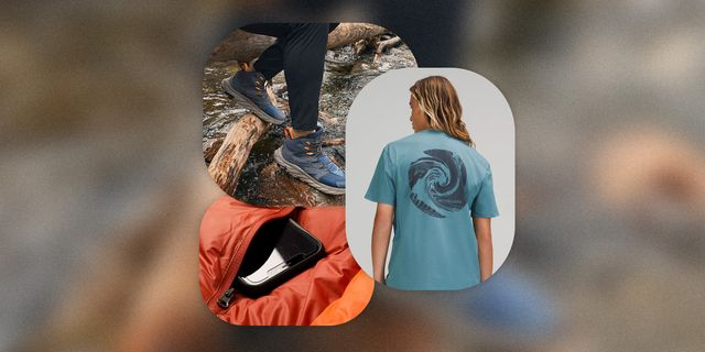outdoor gear july shoes, shirt, and sleeping bag