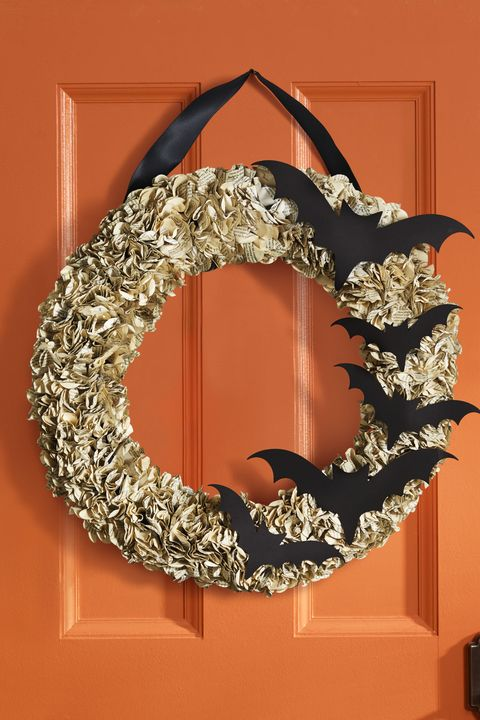 outdoor halloween decorations bat wreath