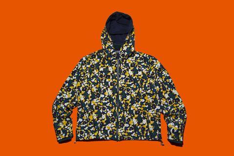Clothing, Outerwear, Hoodie, Hood, Orange, Yellow, Jacket, Sweatshirt, Sleeve, Windbreaker,