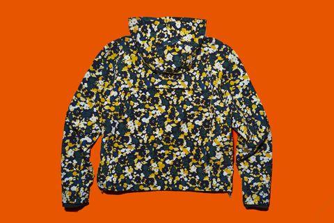 Clothing, Outerwear, Yellow, Jacket, Sleeve, Hood, Sweatshirt, Windbreaker, Hoodie, Font,