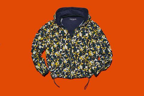 Clothing, Orange, Yellow, Outerwear, Illustration, Font, Fashion illustration, Fashion accessory, Jacket,