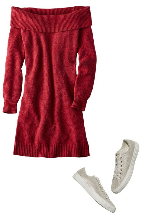 Clothing, Red, Maroon, Sleeve, Footwear, Outerwear, Sportswear, Trousers, Collar, Shoe,