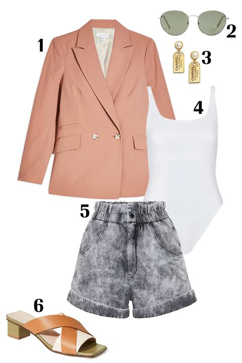 Clothing, White, Outerwear, Blazer, Suit, Pink, Jacket, Footwear, Fashion, Beige,